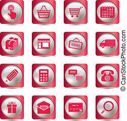 różowy, zakupy, ikony, komplet