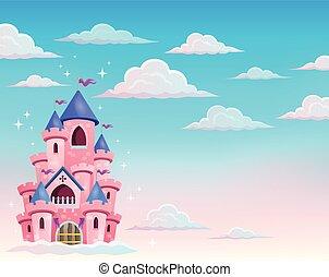 różowy, zamek, chmury