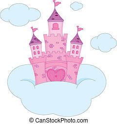 różowy, zamek, księżna