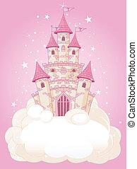 różowy, zamek, niebo