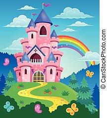 różowy, zamek, temat, wizerunek, 3
