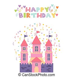 różowy, zamek, urodzinowa karta