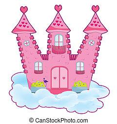różowy, zamek
