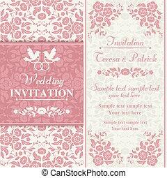 różowy, zaproszenie, barok, beżowy, ślub