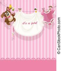 różowy, zawiadomienie, card(0).jpg, openwork, dziewczyna niemowlęcia