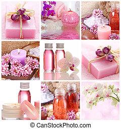 różowy, zdrój, collage