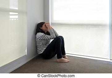 róg, kobieta, siada, smutny