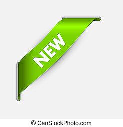 róg, pozycja, zielony, wstążka, nowy
