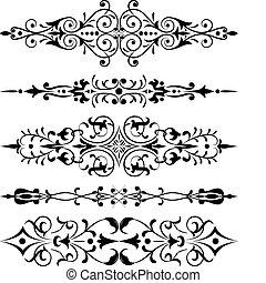 róg, wektor, kwiat, projektować, element