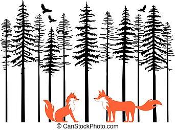róka, alatt, erdő, vektor