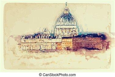 róma, st. peter's, olaszország, székesegyház