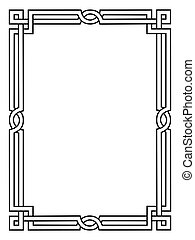 római, mód, fekete, díszítő, dekoratív, keret
