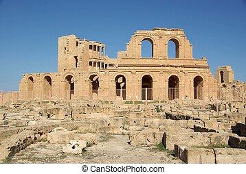 római, sabratha, színház, líbia