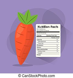 rótulo nutrição, conteúdo, cenoura, modelo, fatos