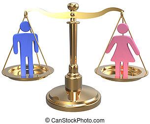 równość, skalpy, sprawiedliwość, rodzaj, płeć, 3d