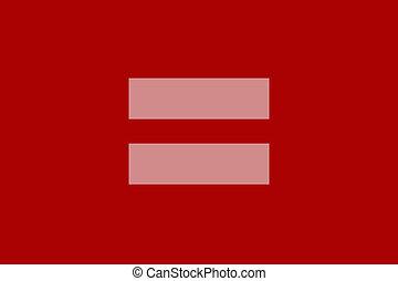 równy, czerwony, znak
