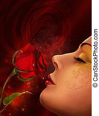 rózsa, és, woman arc, kollázs