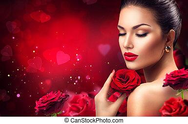 rózsa, flowers., nap, romantikus, valentines, piros, nő, szépség