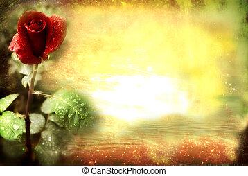 rózsa, grunge, piros lap