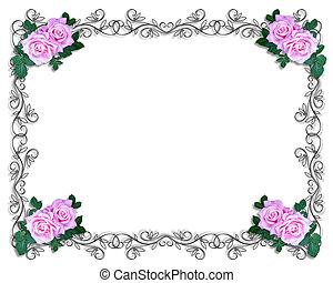 rózsa, határ, keret