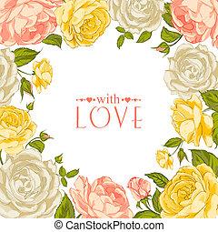rózsa, keret, hízelgő