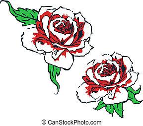 rózsa, törzsi, tervezés, elképzel