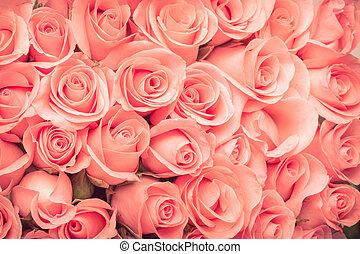 rózsa, virág bouquet, szüret, háttér