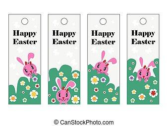 rózsaszínű, állhatatos, húsvét, bookmark., vektor, rabbit., húsvét, boldog