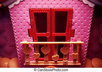 rózsaszínű, épület, játékszer