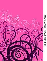 rózsaszínű, és, bíbor, elvont, örvény, díszítés