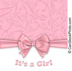 rózsaszínű, íj, zápor, kártya, meghívás, csecsemő lány, szalag