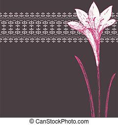 rózsaszínű, írisz, motívum, keret, díszítés, sötét, vektor