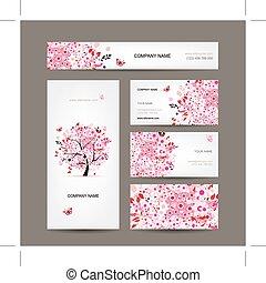 rózsaszínű, ügy, fa, kártya, tervezés, virágos