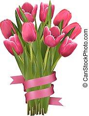 rózsaszínű, ünnep, csokor, háttér, ribbons., menstruáció