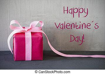 rózsaszínű, ajándék, szöveg, boldog, valentines nap
