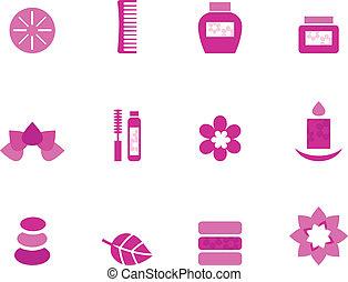 rózsaszínű, alapismeretek, ikonok, wellness, elszigetelt, ásványvízforrás, fehér
