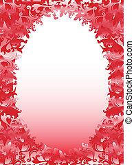 rózsaszínű, alapismeretek, keret, hues, virágos, ovális