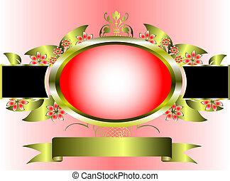 rózsaszínű, arany, keret, virágos, háttér, végzett