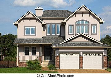 rózsaszínű, barna, two-storied, két, garázs, roof., villaház, új, tégla, fehér