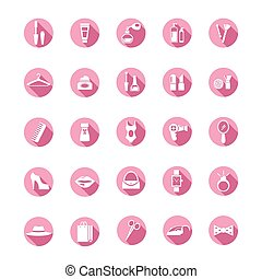 rózsaszínű, bevásárlás, ikonok