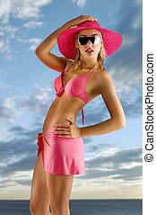 rózsaszínű, bikini, kalap, leány