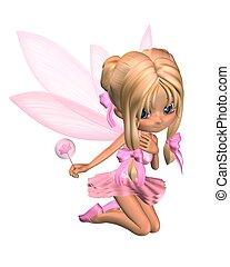 rózsaszínű, csinos, balerina, toon, 1, tündér
