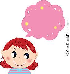 rózsaszínű, csinos, kevés, ábrándozás, leány, buborék