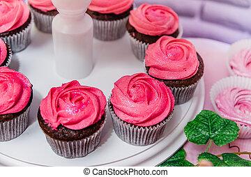 rózsaszínű, csokoládé, cupcakes, krém