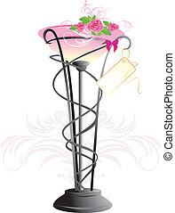 rózsaszínű, csokor, agancsrózsák, váza