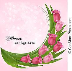 rózsaszínű, csokor, flowers., vektor, háttér, ünnep