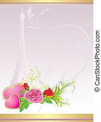rózsaszínű, csokor, piros, agancsrózsák