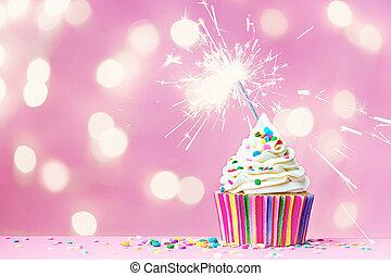 rózsaszínű, cupcake, noha, gyémánt