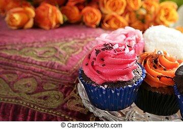 rózsaszínű, cupcakes, színes, muffin, szüret, narancs, krém