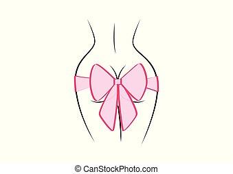rózsaszínű, derékszögben, tehetség, elszigetelt, hát, ábra, íj, háttér, vektor, black női, körvonal